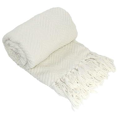 Home Soft Things Tweed Throw, 50  x 60 , Ivory