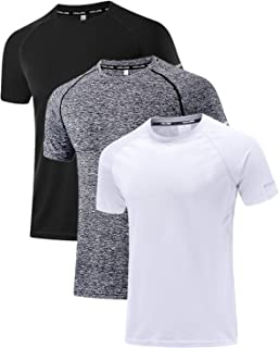 Holure Men's 3 Pack Sportswear Breathable Quick-Drying Short-Sleeved T-Shirt