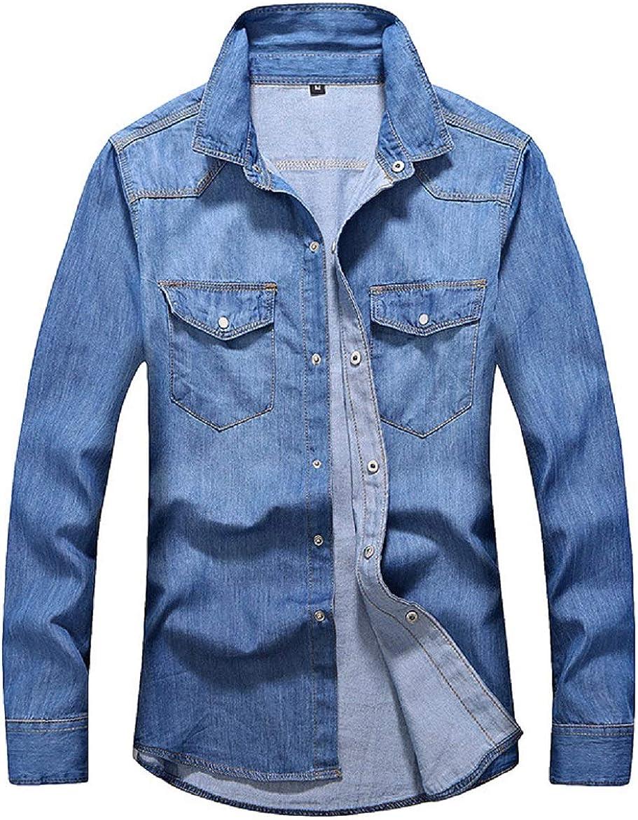 CHARTOU Men's Casual Lapel Collar Long Sleeve Snap Button Down Solid Denim Shirts