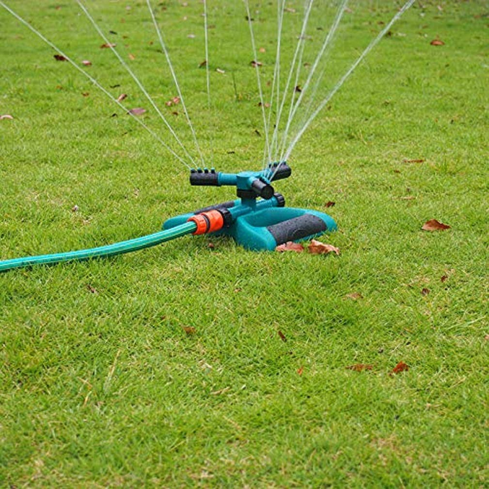 Hangang - Aspersores de jardín automáticos con Sistema de aspersor Giratorio de 3 Brazos de 360 Grados: Amazon.es: Jardín