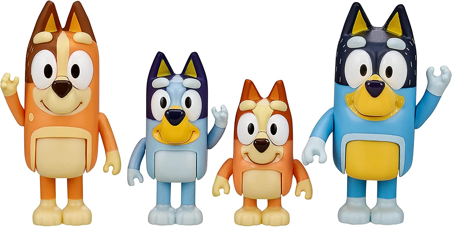 """Bluey and Friends 4 Pack of 2.5-3"""" Poseable Figures Multicolor"""