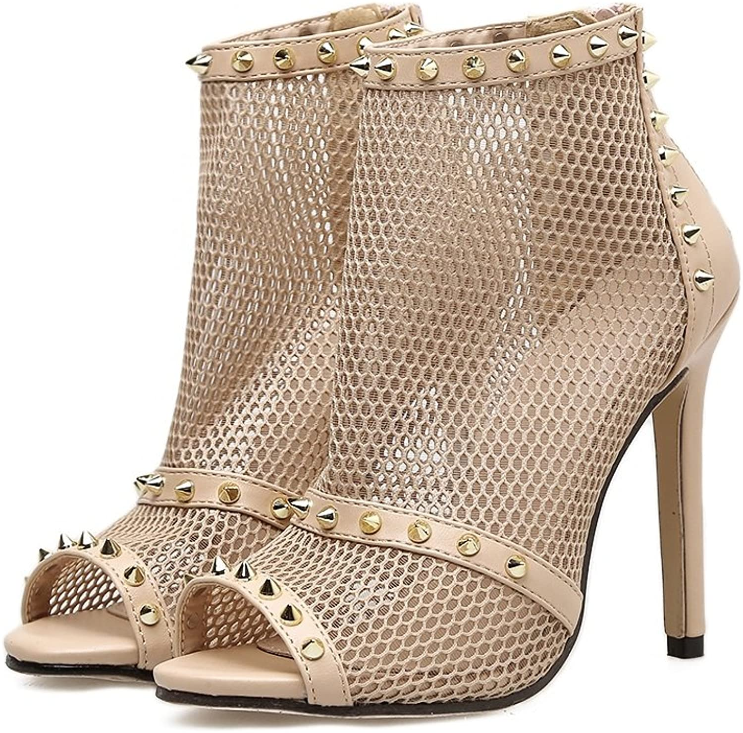 Women's shoesTulle Summer Fall Club shoes Heels Stiletto Heel Sexy Rivets shoes for Wedding Party & Evening