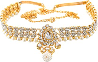 Sanjog Embellished Multi-Color Stone Gold Plated Kamarband Belly Chains for Women/Girls (White)