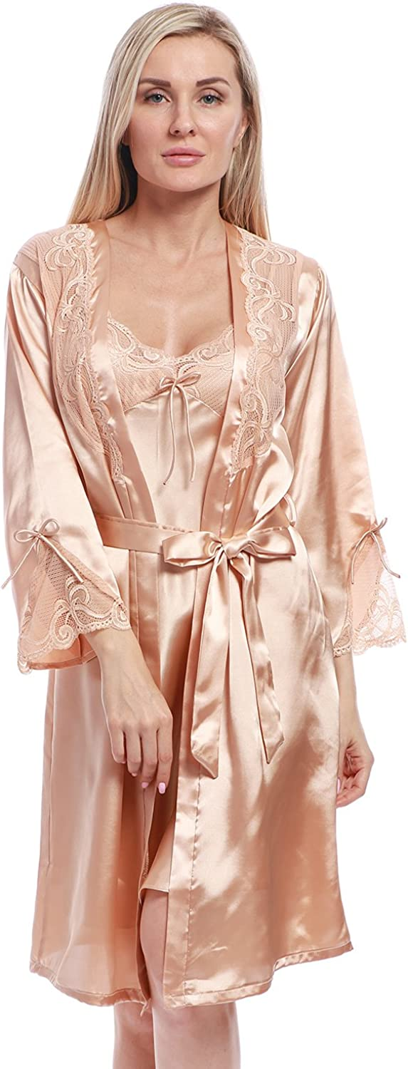 BellisMira Women's Long Satin Robe Bridal Kimono Lace Pajamas Sleepwear Robe ONLY Size UP