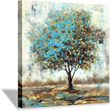 """Hardy Gallery Abstract Tree Picture Wall Art: Landscape Artwork with Gold Foil Painting on Canvas for Bedroom (24"""" x 24"""" x..."""