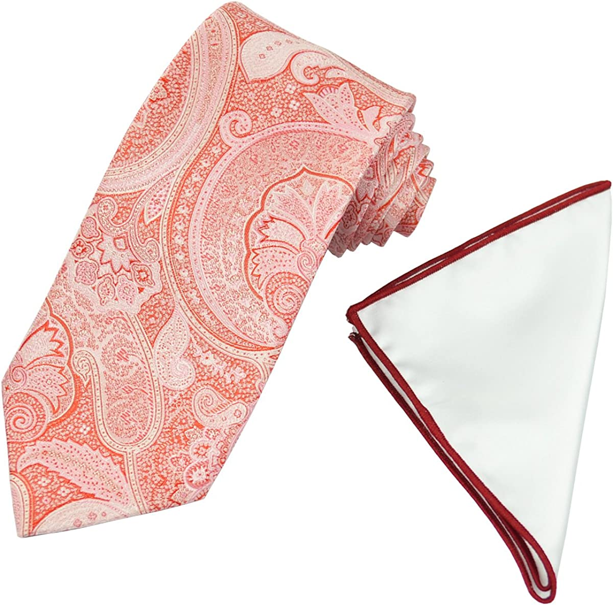 Lite Red Paisley Men's Tie with Contrast Pocket Square Set