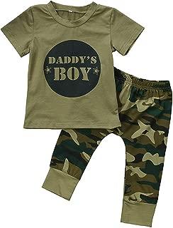 3Pcs Daddy's Baby Boy Girls Letters Print T-Shirt Top+Long Camouflage Pant+Headband Bodysuit