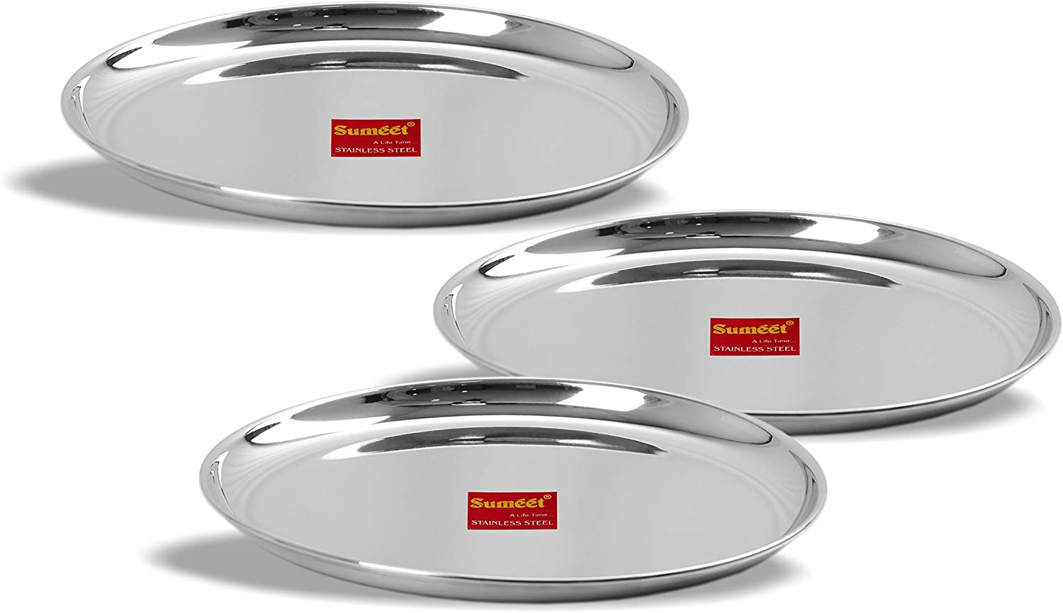 Sumeet Outlet ☆ Free Shipping Stainless Steel Heavy Gauge Dinner with Plates Shallow Detroit Mall Mi