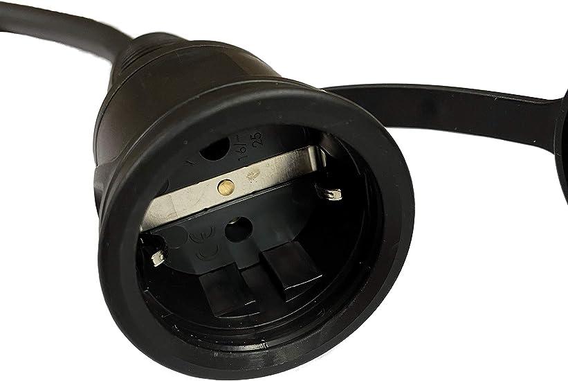 2,5 m, IP54, Cable de Goma, 3 x 2,5 mm, para construcci/ón, jard/ín, Industria, mercados y Exteriores NW Powersolutions H07RN-F Cable alargador Schuko
