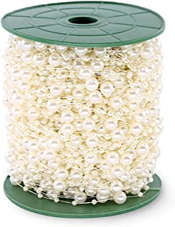 Hilitchi 200Feet Roll Ivory Pearl String Party Garland Wedding Centerpieces Bridal Bouquet Crafts Decoration (Pearl)