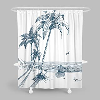 MuaToo Decorative Shower Curtain, Hand-Painted Beaches with Palm Trees Seagulls and Boat..