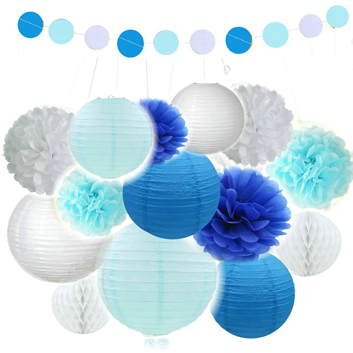 Fascola Mixed White Baby Blue White Party Decoration Kit Tissue Paper Pom Poms Flowers Paper Lanterns and Circle Dots Garlands for Birthday,Baby,Bridal Shower,Room decor &Themed Party Decoration Favor