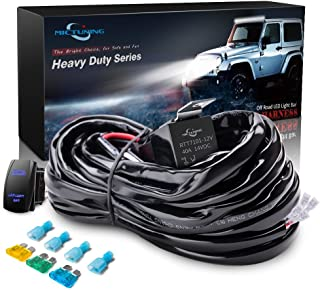 MICTUNING HD 300w LED Light Bar Wiring Harness Fuse 40 Amp Relay ON-OFF Rocker Switch Blue(2Lead)