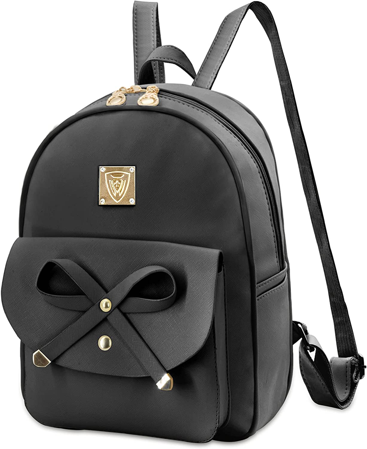 Girls Cute Leather Backpack Purse Mini Bag Best Gift Women Small Fashion Handbags Daypack with Bowknot AS6065 Classic (Black)