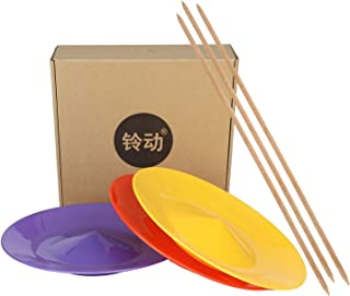 """YuXing Professional Spinning Plates / Juggling Plates Set of 3 (11"""" 3.8OZ Red Yellow Purple) with 3 Durable Sticks (22.6 Inches 0.7 Ounce) Fit All"""