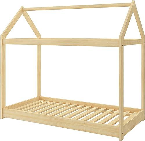 Kinderbett Kinderhaus Kinder Bett Holz Haus Schlafen Spielbett Hausbett - natural Massivholz - ACMA (200x90)