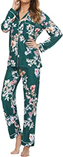 TOP-VIGOR Pajamas for Women Button Down Sleepwear Long Sleeve Floral Print Nightwear 2 Pcs Pjs Sets Lounge Pants