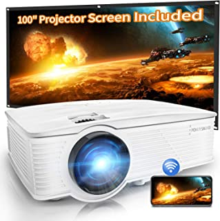 "Projector, WiFi Mini Projector 1080P Supported with 100"" Projector Screen, 5500 Lux 210"" Display..."