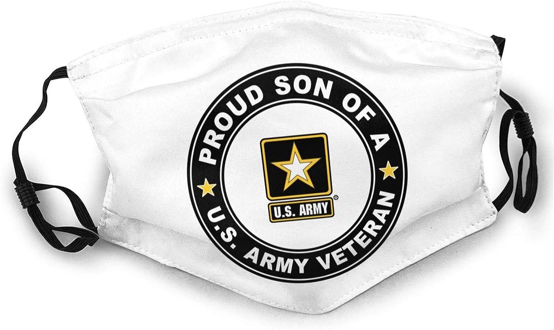 U.S. Army Veteran Proud Son Unisex Adult Anti Dust Face Mask Reusable Black Mouth Masks Balaclava Washable Face Masks
