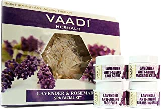 Lavender & Rosemary SPA Facial Kit : Facial Kit - Lavender and Rosemary SPA Facial Kit ALL Natural Suitable for All Skin Types and Both for Men and Women 70 Grams - Vaadi Herbals
