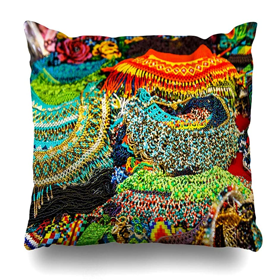 ほのかレインコートピアQrriy Throw Pillow Covers Native Work Beaded Jewelry Market Place Mexico Chiapas Bead Abstract American Americas Bracelet Home Decor Zippered Pillowcase Square Size 20 X 20 Inches Cushion Case 枕,抱き枕カバー,枕カバ,実用的である
