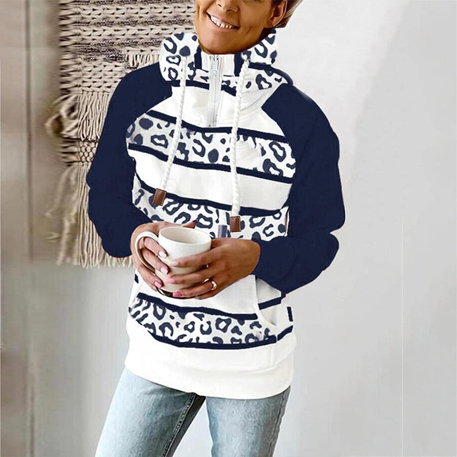 AODONG Hooded Sweatshirts for Women Casual Lightweight 1/4 Zipper Long Sleeve Loose Striped Hoodies Pullover with Pocket