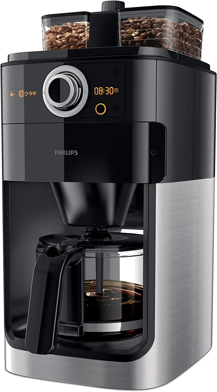 Philips Grind und Brew HD7769/00 - Cafetera de filtro (con molinillo, temporizador, compartimento doble para granos), color negro