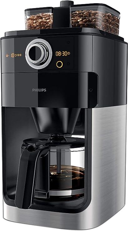 -Philips Koffiezetapparaat Grind & Brew - Zet 12 koppen koffie - Geintgreerde koffiemolen - Dubbele bonenhouder - Timer - Druppelstop - Automatische uitschakeling - Zwart - HD7769/00-aanbieding