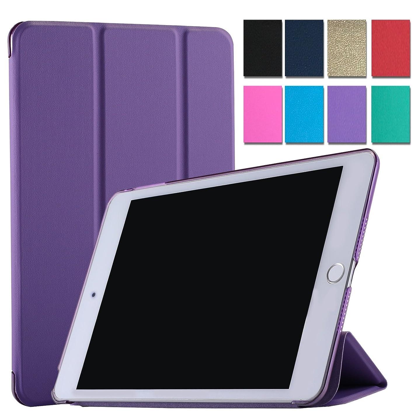 DuraSafe Case for iPad 4 / iPad 3 / iPad 2 9.7 Inch [ A1458 A1459 A1460 A1403 A1416 A1430 A1395 A1396 A1397 ] Tri Fold Smart Cover with Translucent Back, Auto Sleep/Wake - Purple