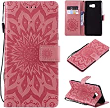 Yhuisen Sunflower Printing Design PU Leather Flip Wallet Lanyard Protective Case with Bracket Card Slot for Samsung Galaxy C9 Pro (Color : Pink)
