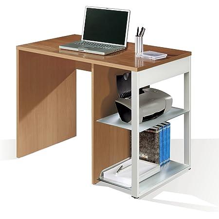 Mesa de oficina, ordenador o escritorio en color cerezo, pata lateral metalica y estantes regulables 100x60x75