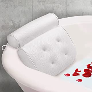 JEEDOVIA Bathtub Pillow - Bath Pillow for Tub with Strong Suction Cups & Hook - Hot Tub Pillow - Comfortable Spa Pillow wi...