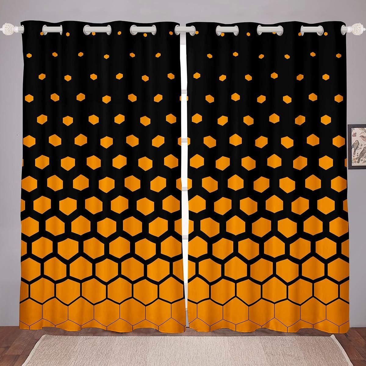 Castle Fairy Yellow Black Background 予約 2020春夏新作 Theme Honeycomb Window Curt
