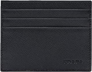 Saffiano Leather Card Case Wallet, Nero 2MC223