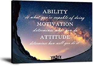 """Motivational Quotes Wall Art Motto Inspirational Success Teamwork Canvas Painting Inspirational Entrepreneur Posters and Prints Motivation Attitude Saying Pictures Decor for Office Home (30""""Hx40""""W)"""