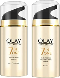 Olay Day Cream Total Effects 7 in 1, Anti-Ageing Moisturiser, 20g And Olay Night Cream Total Effects 7 in 1, Anti-Ageing M...