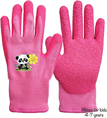 1 Pair Kids 3-6 Years Girl Pink Garden Work Gloves,Knitted Liner,and Latex Rubber Palm Coated for Water/Dirty Resistance (3-6