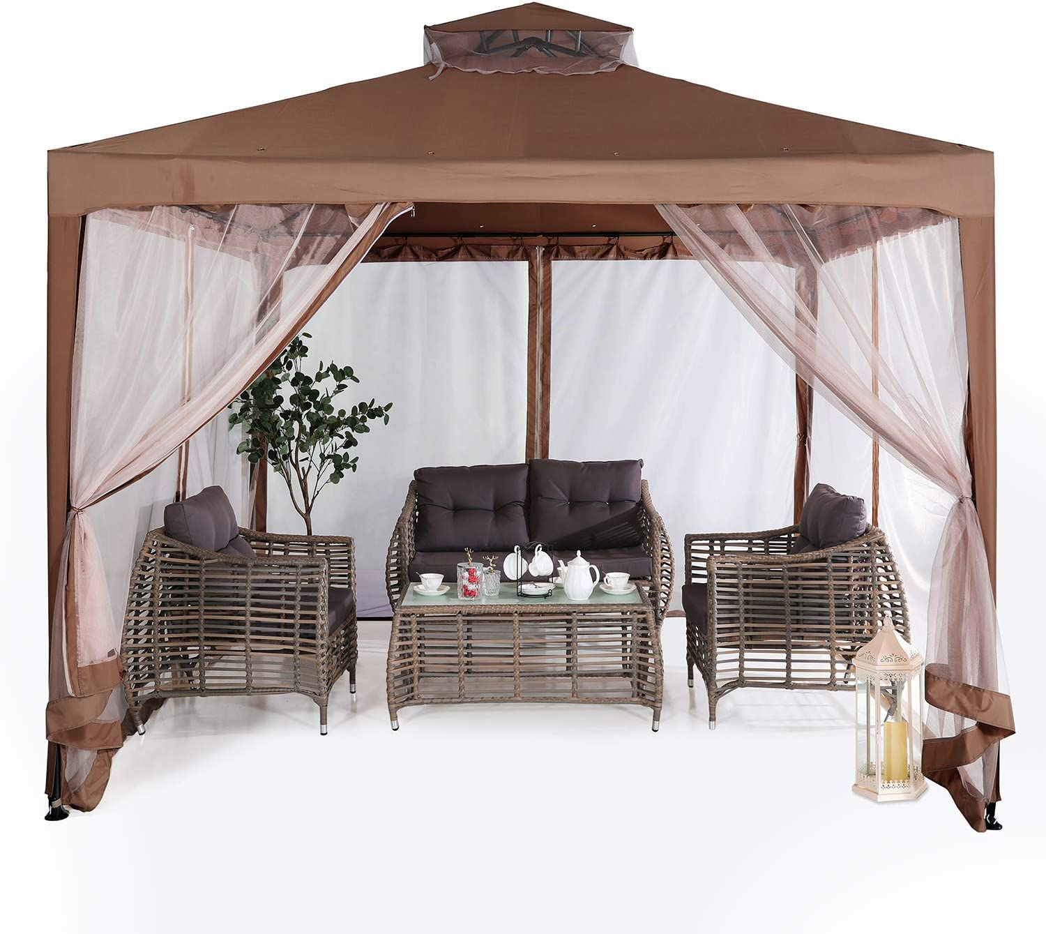Brown ABCCANOPY 10x10 Pop up Gazebo Tent with Mosquito Netting Outdoor Instant Gazebo Canopy Shelter