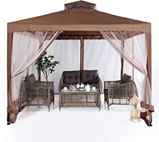 ABCCANOPY 10'x10' Pop up Gazebo Tent with Mosquito Netting Outdoor Instant Gazebo Canopy Shelter (Brown)