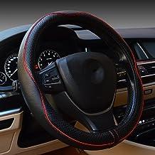 پوشش فرمان فرمان اتومبیل Valleycomfy Universal 15 اینچ با چرم مشکی اصل افزودن خطوط قرمز برای X1 X3 X5 335i 535i HRV CRV Accord Corolla Prius و غیره