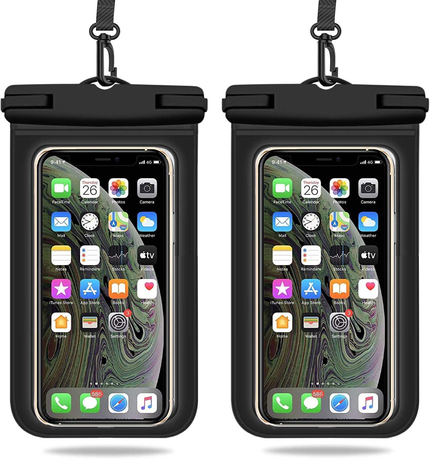 Weuiean Waterproof Phone Case, Waterproof Phone Bag with Detachable Lanyard, Phone Dry Bag for iPhone 12/11/SE/XS/XR 8/7/6Plus, Samsung S21/20/10/10+/Note up to 6.9 inch - 2Pack Black+Black