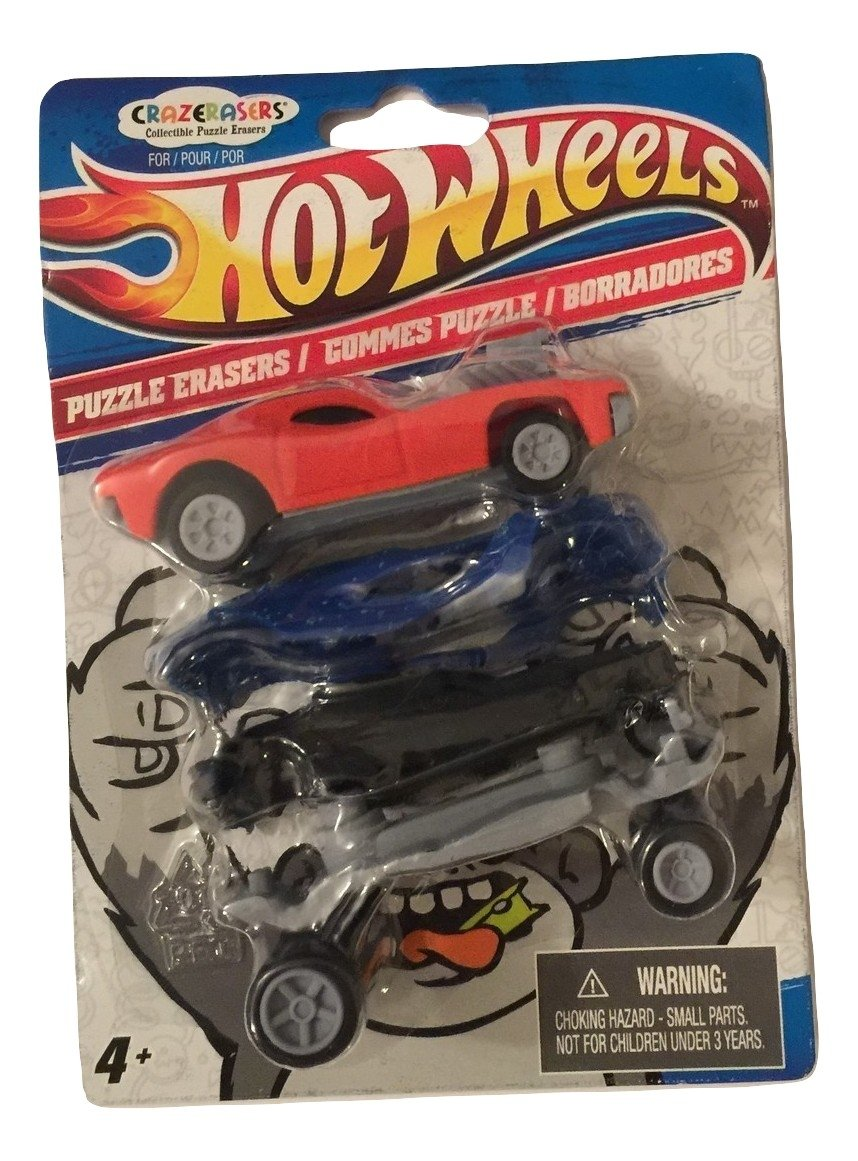 Hot Wheels X CrazErasers: Collectible Puzzle Erasers ~ Series #1 (Red Rodger Dodger, Blue Urban Agent)