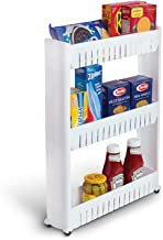 LookNSnap Slim Multipurpose Storage Rack - Space Saving Storage Organizer Rack Shelf with Wheels (3 Tier)
