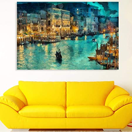 Inephos Cotton and Wood Night Venice Framed Painting, Multicolour, Abstract, 85 x 55 cm
