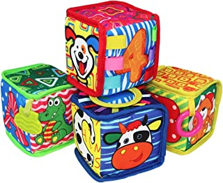 teytoy Baby Toy Soft Rattle Baby Blocks My First Active Education Toys Infant Travel toys Foam Grab and Stack Building Blocks Toy with Safety Mirror and Silicone Teether BPA-free for 0-36 Months