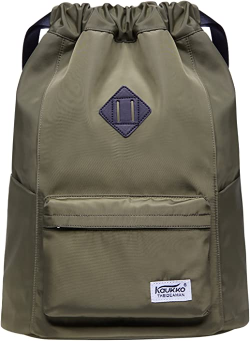 KAUKKO Drawstring Backpack String Bag Sports Outdoor Sackpack Yoga Sackpack Lightweight Sackpack Backpack for Men & Women School (Nylon230 Army Green)