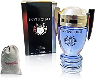 Invincible Perfume Eau De Toilette, Impression by Mirage Brands, 3.4 fl oz 100 ml - Long-Lasting Fragrance To Rock Every Occasion with a NovoGlow Suede Pouch Included