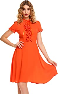Women's Fit and Flare Ruffle Dress Short Sleeve High Neck A Line Swing Party Midi Dress