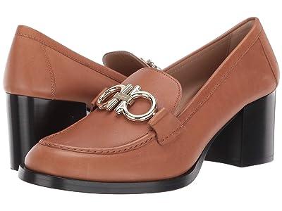 Salvatore Ferragamo 55 mm Rolo Heeled Loafer (Tan Leather) High Heels