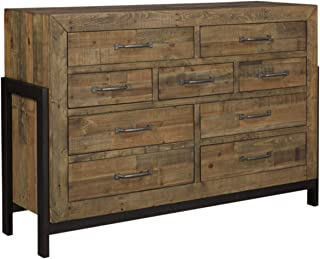 Ashley Furniture Signature Design - Sommerford Dresser - Casual - 9 Drawers - Light Grayish Brown Finish Reclaimed Wood - Silver/Bronze Hardware/Legs